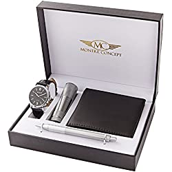 CLP-1146 Gift box men's watch with flash light, wallet and pen - Concept Watch - Black