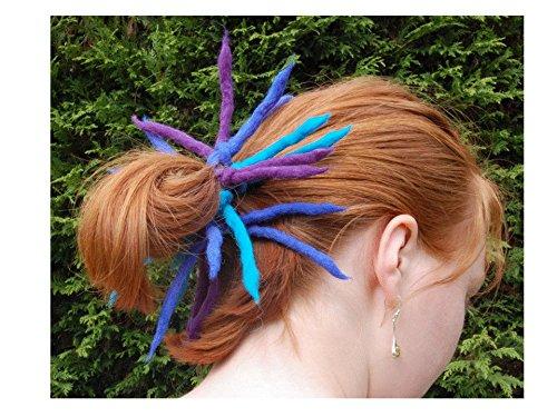 Blue dreadlock wool hair scrunchie - Handmade felted wool Dreadlocks