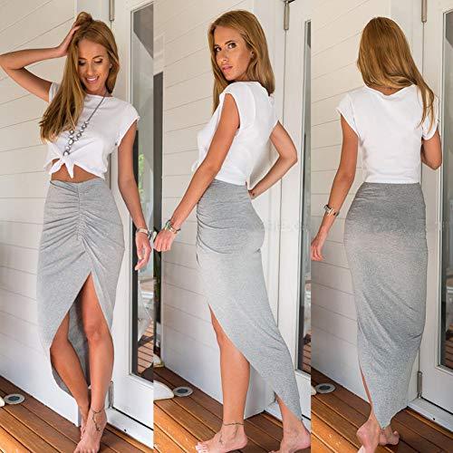 DAHDXD Heißer Frauen Damen Mode Lässig Hohe Taille Asymmetrische Solide Stretch Rock Party -
