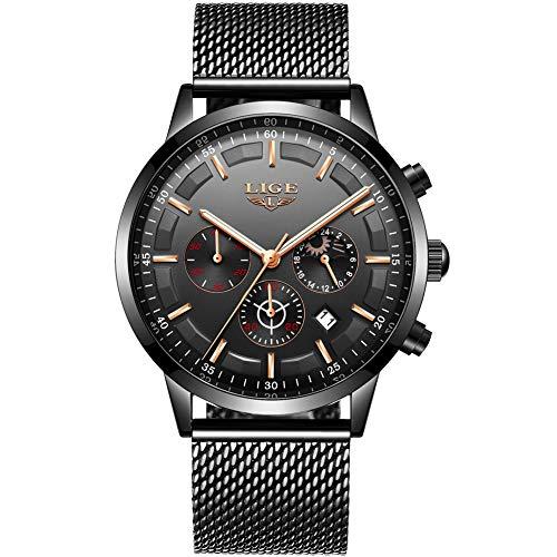 LIGE Herren Uhren Mode Wasserdichte Chronograph Quarz Uhr für Mann Luxus Business Kleid mit Schwarzem Edelstahlgewebe ...