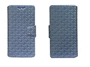 J Cover Aafreen Series Leather Pouch Flip Case With Silicon Holder For Atom Supremus Blue