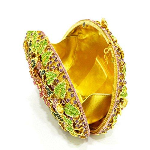 Diamante Pochette Sera Fiore Di Cristallo Delle Donne B