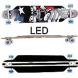FunTomia® Freerider Longboard - 107cm x 26cm - rodamientos ABEC-11 - hecho con 9 capas de madera de arce (América - con LED ruedas)