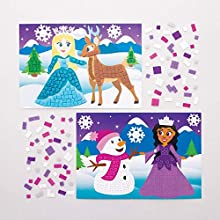 Baker Ross AT194 Snow Princess Mosaic Picture Kits, Arts and Crafts for Kids (Pack of 4), Assorted