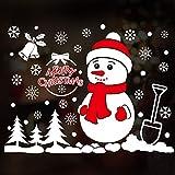 HAPPYLR Weihnachtsschmuck Wandaufkleber Schaufenster Dekoration Glastür Aufkleber Szene Santa Baum Fensteraufkleber, Roter Schal Schneemann 50 * 72