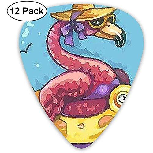 Guitar Pick 12 Pack Flamingos nehmen Schwimmringe - Plektren für Musiker