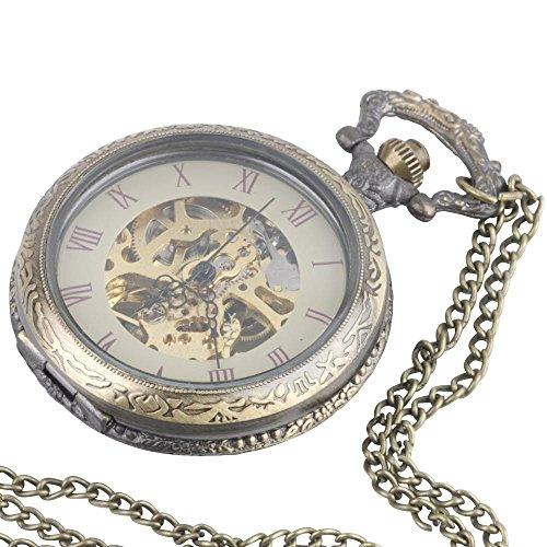 81stgeneration women's brass vintage style mechanical pocket watch chain pendant necklace, 78 cm