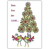 100er Set Moderne Firmen Weihnachtskarten mit Vogel Päarchen vor Weihnachtsbaum, innen blanko/weiß geschäftliche Weihnachtsgrüße für Kunden, Mitarbeiter: Zum Fest der LIEBE.