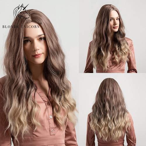 CXQBlond Unicornio Cosplay sintético pelucas para el pelo de la onda natural de las mujeres 26 pulgadas...