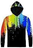 Pizoff Unisex Hip Hop Sweatshirts druck Kapuzenpuli Kapuzenpullover mit Farbkleks 3D Digital Print, AC020-02, Gr. S