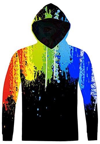 Pizoff Unisex Hip Hop Sweatshirts druck Kapuzenpuli Kapuzenpullover mit Farbkleks 3D Digital Print, AC020-01, Gr. M