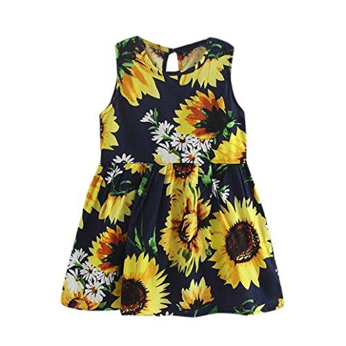Kleid Mädchen, HUIHUI Toddler Mädchen Kleid Kurzarm Sonnenblume Drucken mit Bowknot Party Prinzessin Dress T-shirt Kleid Frühlings Herbst Cocktailkleid Sommerkleider (110 (3-4Jahre), Multicolor) (Multi Mädchen Shirt Color)
