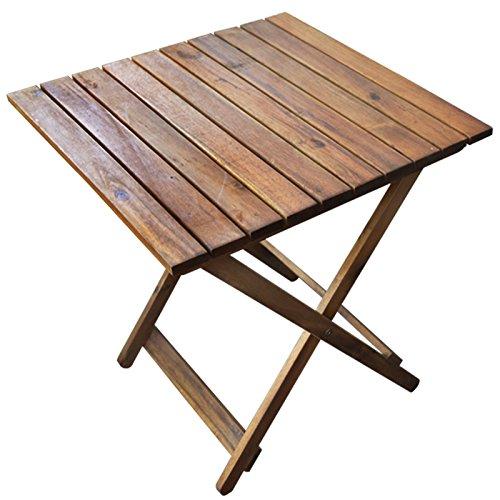 ecktisch holz Rustikaler Beistelltisch aus Holz | Ideal für Balkon und Camping | Klapptisch platzsparend und Klein | Akazienholz Braun 50x50x50 cm