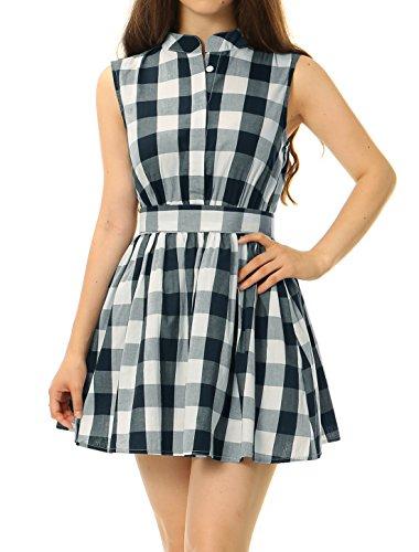 Kostüm Kleid Gingham - Allegra K Damen Ärmellos Karierte Schleife Rücken Gürtel Mini Shirt Kleid XS (EU 34)