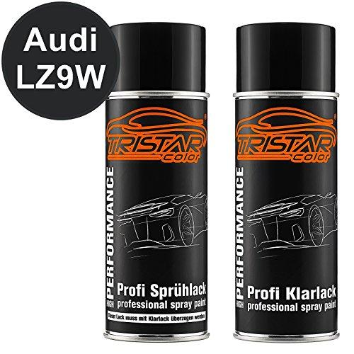 TRISTARcolor Autolack Spraydosen Set Audi LZ9W Ebonyschwarz Perl Basislack Klarlack Sprühdose 400ml