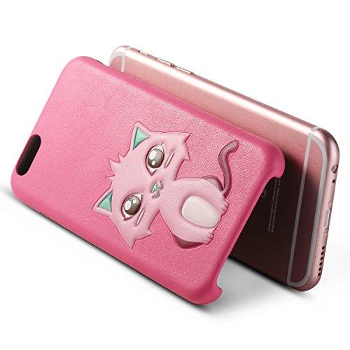 iPhone 6 Hülle, ULAK iPhone 6s Hülle Slim Fit Flexibel PU Leder mit 3D Entwurf + Mikrofaser Kratzfest Schutzhülle Case Cover für Apple iPhone 6 6s (4.7 Zoll) (Rose Rote Katze) Rose Rote Katze