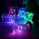 Solar Mason Jar Lichter LEDMOMO Gläser Deckel Licht für Outdoor Garten Baum Party Weihnachtsdekoration (lila Licht)