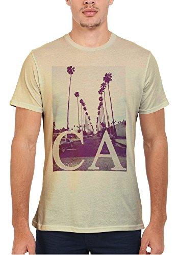 California CA Palm Springs Trees Retro Vintage Cool Men Women Damen Herren Unisex Top T Shirt Sand(Cream)