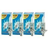 ECD Germany 4er Pack Halogen Lampe H1 55W 4000K 12V mit E4 Zulassung Glühbirne Glühlampe Birne Scheinwerferlampe Autolampe