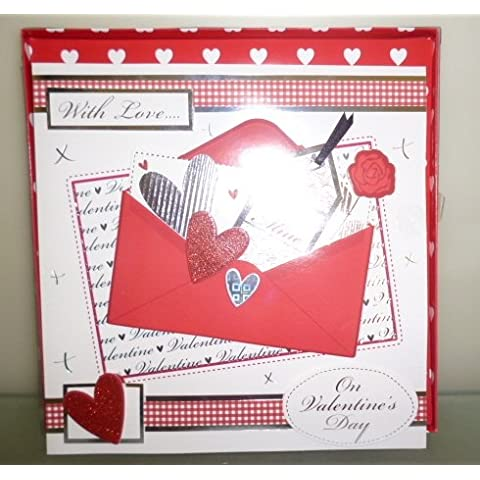 Happy Valentine's Day Handmade Boxed Card With 3D Envelope Pictures (MI150B)