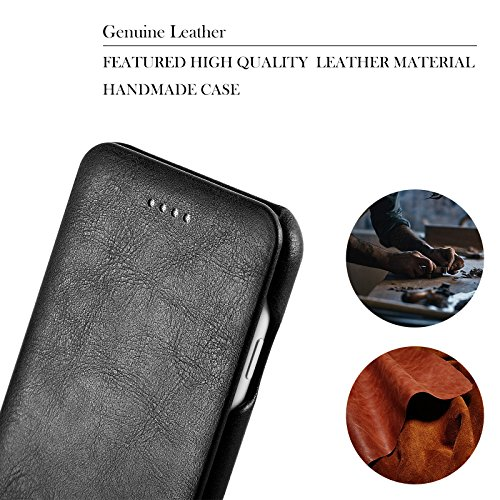 Etui iPhone 7, E-Tree Housse Portefeuille Coque Protection pour iPhone 7, en Cuir Véritable, et Rangement Cartes, Case Cover - Noir Noir