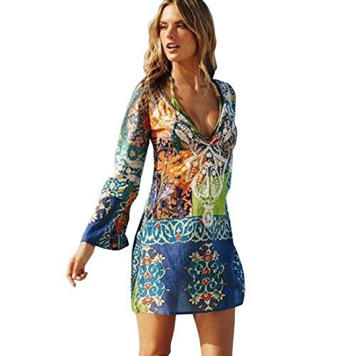 COCO clothing Damen Boho Stil Langarm Bunt Bedrucktes Chiffon Blusen Kleid Casual Strand Minikleid Frauen Tief V-Ausschnitt Kurz Tunika T-shirt Sommerkleid (M)