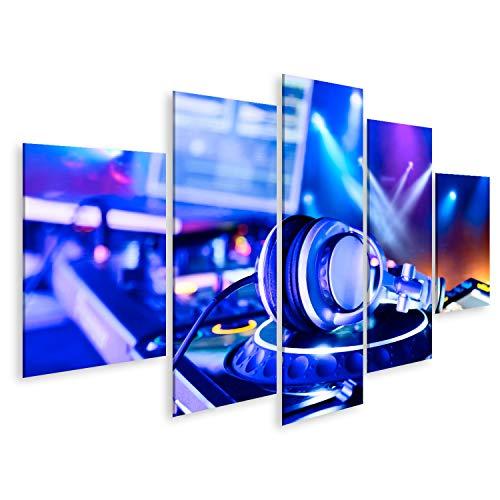 bilderfelix® Bild auf Leinwand DJ-Mixer mit Kopfhörern im Nachtclub Wandbild, Poster, Leinwandbild PQK (Kopfhörer Dj-mixer)