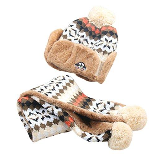 Babybekleidung Hüte & Mützen Longra Hairball Auto Baby Winter warme Mütze Schal jungen Mädchen Kleinkinder Hüte Mützen Schal (2-10 Jahre) (Beige)