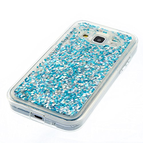 Samsung Galaxy Core Prime G360 Coque Liquide, Samsung Galaxy Core Prime G360 Cover Silicone, SainCat Ultra Slim Transparent TPU Silicone Case pour Samsung Galaxy Core Prime G360, Anti-Scratch Liquid C Silver Blue