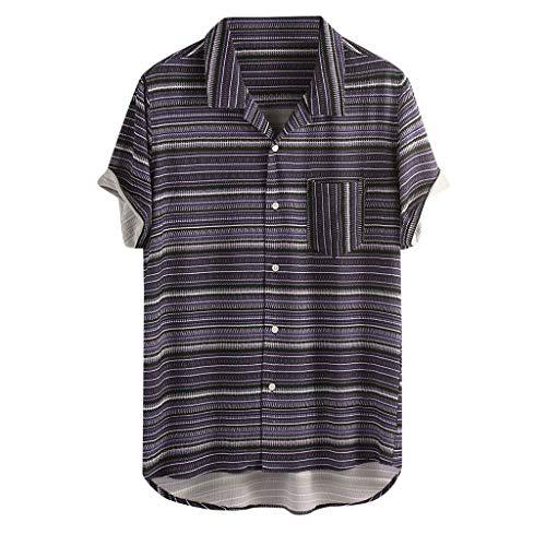 Bike-ernährung-box (UINGKID Herren T-Shirt, Kurzarm Top Shirt Schlafanzugoberteil Mens Vintage Striped Umlegekragen Loose Beach Freizeithemd)
