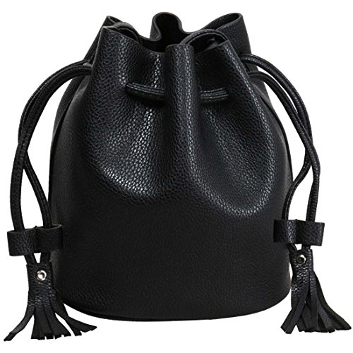 BMC Donna Testurizzato Simil Pelle Cordino Stile Stringere Sacca Mini Borsa Midnight Black