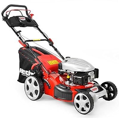 HECHT Benzin-Rasenmäher 548 SW Benzin-Mäher (3,7 kW (5,0 PS), Schnittbreite 46 cm, 60 Liter Fangkorbvolumen, 7-fache Schnitthöhenverstellung 25-75 mm, Radantrieb)