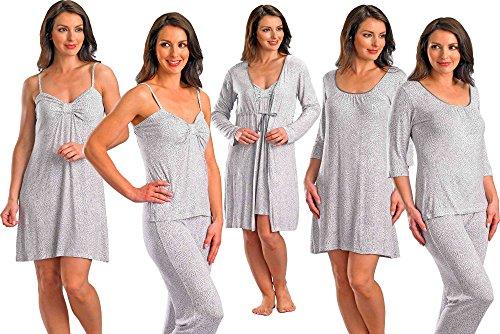 Slenderella pour femme Blanc/gris à col rond avec manches 3/4 T Shirt Pyjammas Petite Taille XL Haut à manches 3/4
