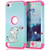 IPod Touch 6 Case,iPod Touch 5 Case,SKYLMW 3in1 Anti Slip IPod Touch Case Hybrid With Soft Flexible Inner Silicone Skin Protective Case Cover For Apple IPod Touch 5 6th Generation,Elephant Hot Pink