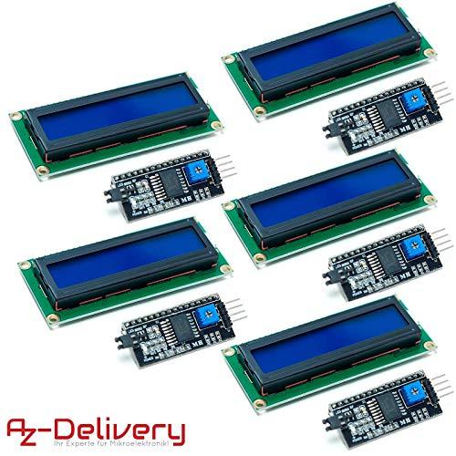 AZDelivery ⭐⭐⭐⭐⭐ 5 x HD44780 1602 LCD Modul Display Bundle mit I2C  Schnittstelle 2x16 Zeichen mit Gratis eBook! (mit Blauem Hintergrund)