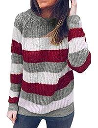 8085098f8eba Damen Gestreifter Gestrickte Sweatshirt, Mode Herbst Winter Strickpullover Frauen  Lange Ärmel Casual Loose Fit Pullover
