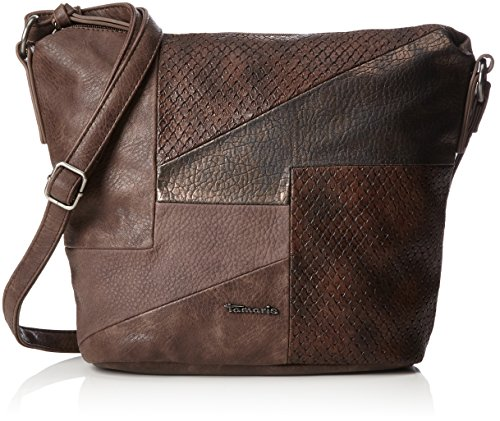 Tamaris Damen Bimba Crossbody Bag Umhängetasche, Braun (Dark Brown Comb.), 12x27x25 cm (Braun Tasche Patchwork)