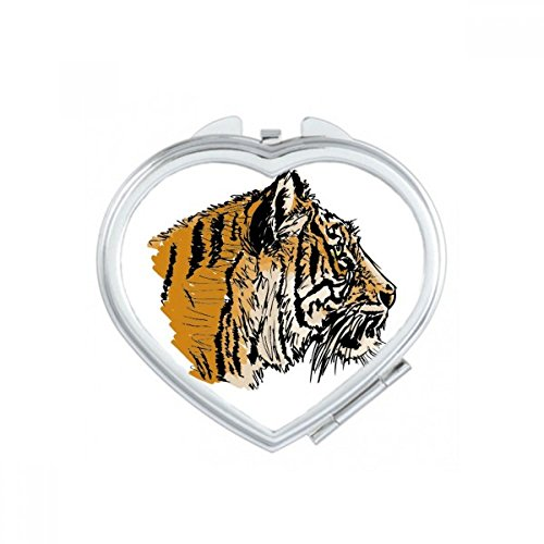DIYthinker Tiger Head-Up Close Roi Coeur d'animal Maquillage Compact Miroir de Poche Miroirs Mignon Petit Cadeau Portable à la Main Multicolor