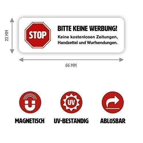 """Magnet-Schild """"Bitte keine Werbung!"""" in weiß für Ihren Briefkasten"""