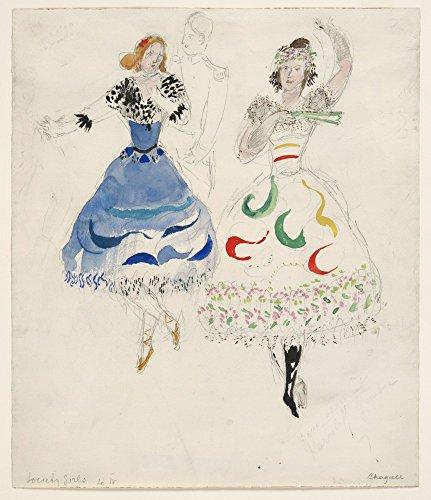 Das Museum Outlet–Marc Chagall–Gesellschaft Mädchen, Kostüm Design für Aleko, gespannte Leinwand Galerie verpackt. 40,6x 50,8cm