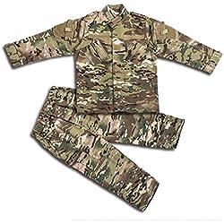 H World EU Tactique Airsoft Enfants Vêtements Enfants BDU Chasse Militaire Camouflage Combat Uniforme Costume Veste Chemise et Pantalon (MC, 150)