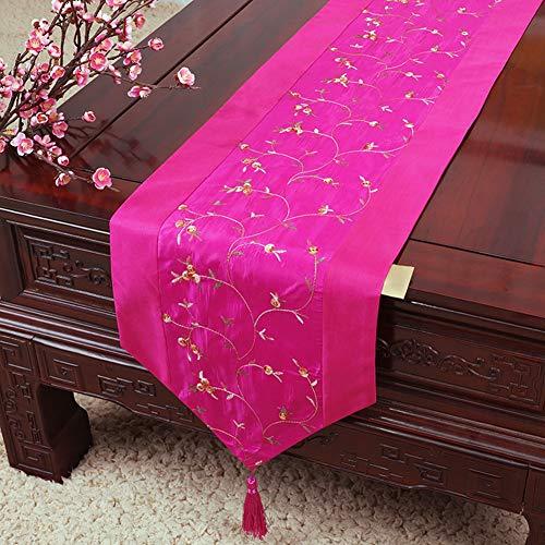 MMD Pastorale Stoff Tischdecke Tischläufer Moderne Einfachheit Couchtisch rechteckige Abdeckung (Farbe : Hot pink, größe : 33 * 150cm)