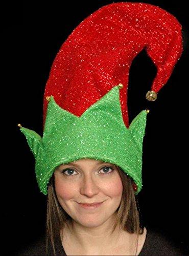 Giant Weihnachten Elf Hat 50cm rot und grün Weihnachts Erwachsene Kostüm Zubehör Helper (Santa's Helper Elf Kostüm)