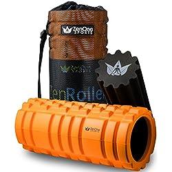 ZenRoller Faszien Rolle mit GRATIS E-BOOK & ÜBUNGSPOSTER I Premium-Massagerolle I Faszienrolle für Triggerpunkt-Massage (2in1 Bundle Orange)