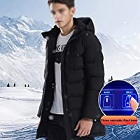 Climatizada chaquetas con capucha para hombres, abrigos de invierno para la Mujer climatizada, Slim Fit calentador eléctrico chaqueta USB recargable, impermeable ya prueba de viento y lavable,,XXXL