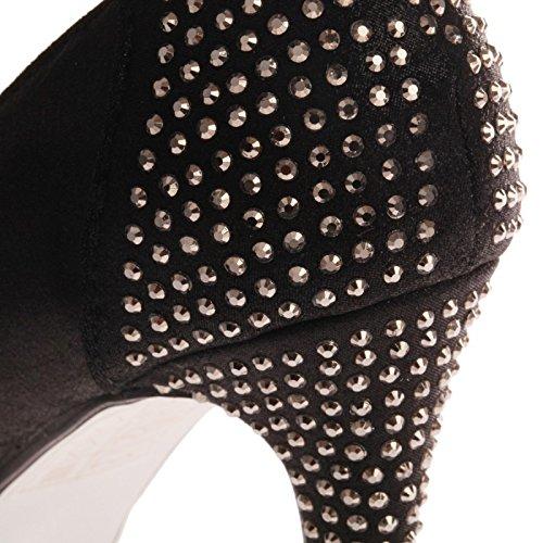 La Modeuse - Escarpin à bout rond, en simili cuir, à effet brillant Noir