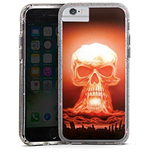 Apple iPhone X Bumper Hülle Bumper Case Glitzer Hülle Explosion Skull Totenkopf Bumper Case Glitzer rose gold