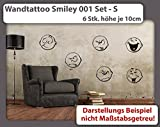 Wandtattoo Smiley Set 001 S - Höhe der Smileys je 10cm (6 Stk.) - Duvar Tattoo - 23 mögliche Farben
