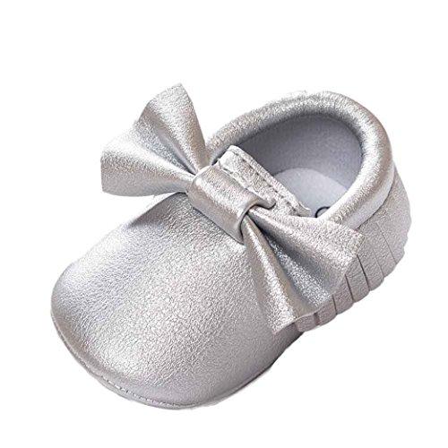 Turnschuhe Babyschuhe Neugeborenen Solekleinkind Mädchen Tanzschuhe Leder T-Strap Schuhe Lauflernschuhe Mädchen Krabbelschuhe Streifen-beiläufige Wanderschuhe LMMVP (Silber, 13 (12~18 Monate))