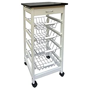 4 Tier Veg/Fruit Baskets  White ,with work surface and Top draw